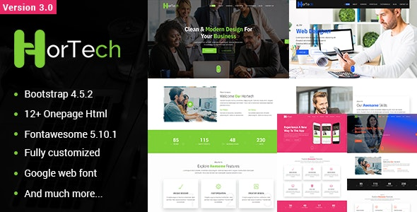 Hortech – One Page Multi-use HTML Template - Business Corporate