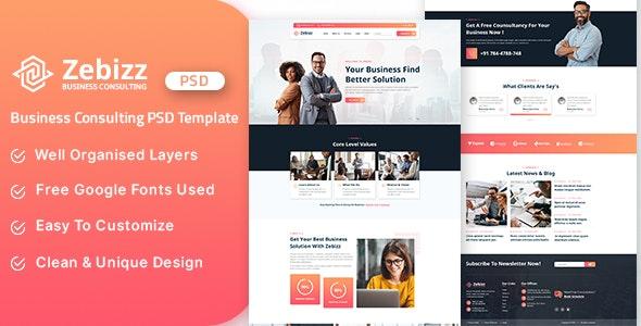Zebizz - Business Consulting PSD Template - Corporate Photoshop