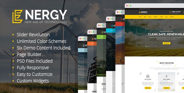 Energy - solar and wind alternative power WordPress Theme - Technology WordPress