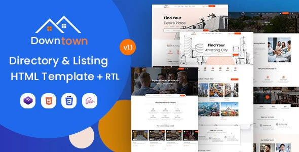 Downtown - Directory & Listing HTML Template - Business Corporate