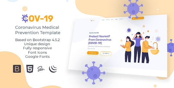 COV-19 - Coronavirus (COVID-19) Social Awareness and Medical Prevention Template - Nonprofit Site Templates