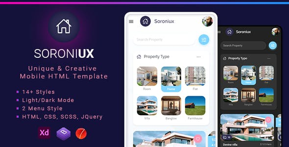 Download Soroniux Mobile HTML template with Bootstrap and Framework 7