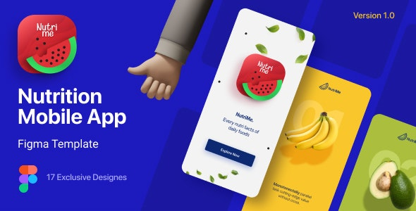 NutriMe   Online Nutrition Info Mobile App and Landing Page Figma Template - Health & Beauty Retail