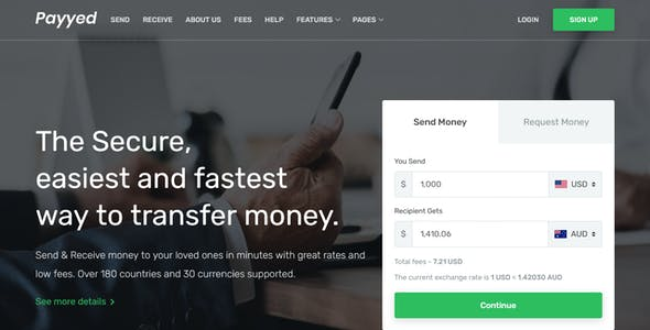 Payyed - Money Transfer and Online Payments HTML Template