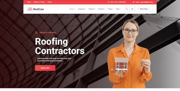 RoofLine - Roofing Services PSD Template