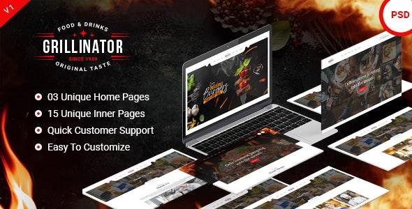 Grillinator - Restaurant & Cafe PSD Template - Food Retail