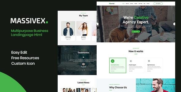 Massivex - Multipurpose Business Landing Page Template - Corporate Site Templates