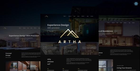 Artha - React Interactive Interior Template - Creative Site Templates