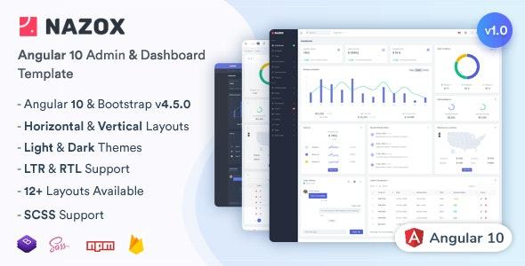 Nazox - Angular 10 Admin & Dashboard Template - Admin Templates Site Templates