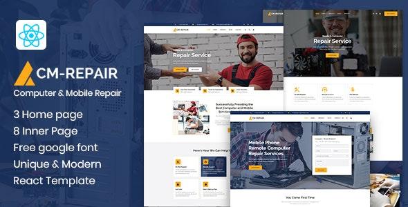 CM-repair - Computer and Mobile Repair Store React Template - Business Corporate