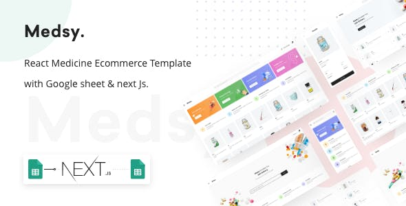 Download Medsy - React Medicine Ecommerce Template with Google sheet & Next JS.