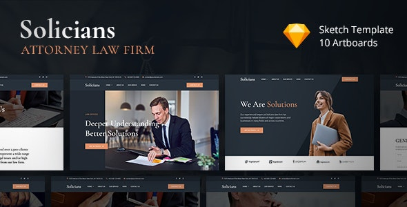Solicians - Attorney Law Firm Sketch Template - Business Corporate