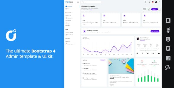 Octoink   Bootstrap 4 Admin Dashboard Template