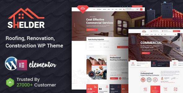 Shelder - Roofing Services WordPress Theme + RTL - Business Corporate