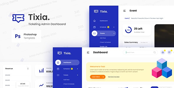 Tixia - Ticketing Admin Dashboard User Interface PSD Template - Miscellaneous Photoshop