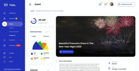 Tixia - Ticketing Admin Dashboard User Interface PSD Template