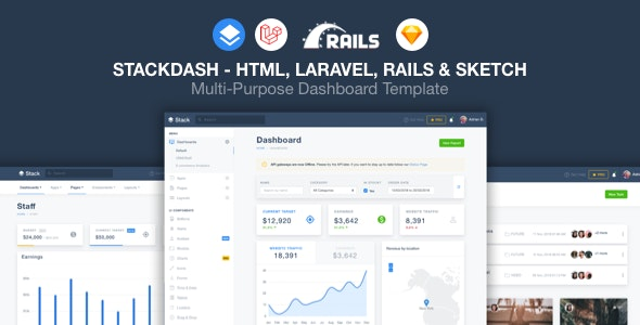 StackDash -  HTML, Laravel & Rails Dashboard Template - Admin Templates Site Templates