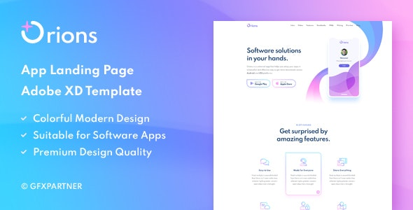 Orions – App Landing Page Adobe XD Template - Software Technology
