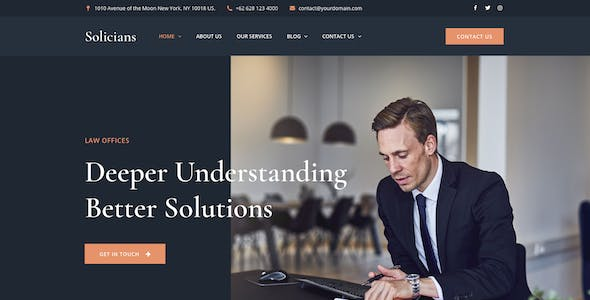 Solicians - Attorney Law Firm Adobe XD Template