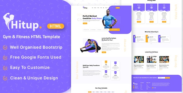 Hitup - Fitness and Gym HTML Template - Health & Beauty Retail