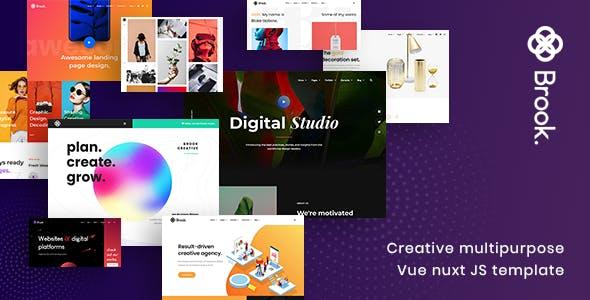 Download Brook - Creative Multipurpose Vue Nuxt JS Template