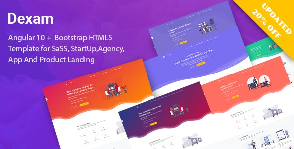 Dexam - Angular 10+ Bootstrap 4 Html SaaS, Startup & Product Landing Page - Software Technology