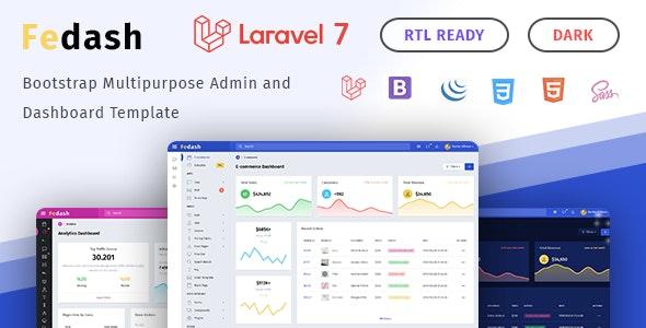 Fedash - Admin & Dashboard Template + Laravel 7 Starter Kit - Admin Templates Site Templates