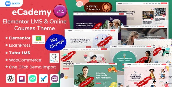Download eCademy - Elementor LMS & Online Courses Education Theme