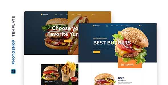 Burgos – Street Food Template for Photoshop - Food Retail