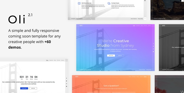 Oli - Responsive Coming Soon Template - Under Construction Specialty Pages
