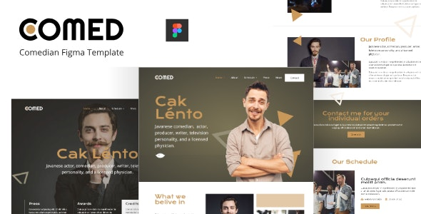 Comed - Comedian Figma Template - Film & TV Entertainment