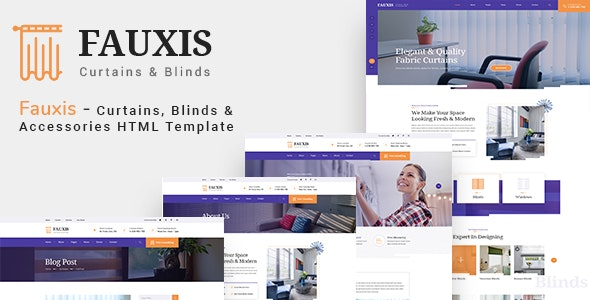 Fauxis - Windows Curtains & Doors Service HTML Template - Business Corporate