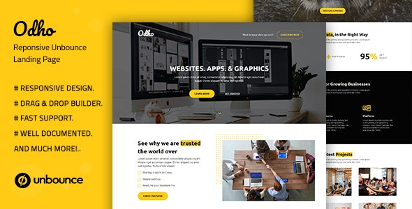 Odho — Responsive Unbounce Landing Page Template - Unbounce Landing Pages Marketing