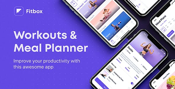Fitbox - Workouts & Meal Planner UI Kit for Adobe XD