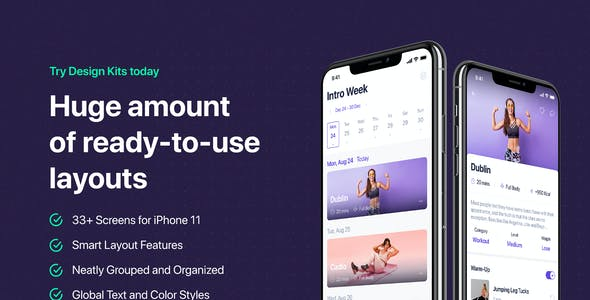 Fitbox - Workouts & Meal Planner UI Kit for Sketch