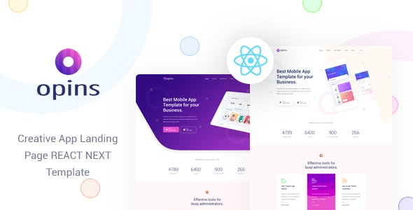Opins - React Next App Landing Page Template - Technology Site Templates