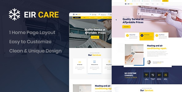 Eircare - Air Conditioning PSD Template - Business Corporate