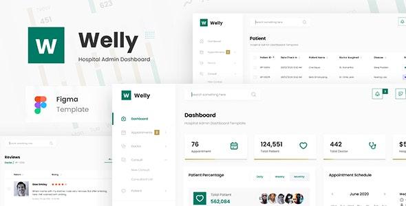 Welly - Hospital Admin Dashboard UI Template Figma - Miscellaneous Figma