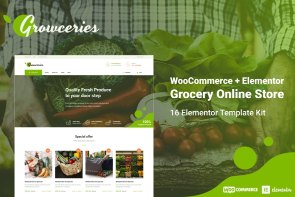 Growceries - Food & Grocery Store Elementor Template Kit - Shopping & eCommerce Elementor