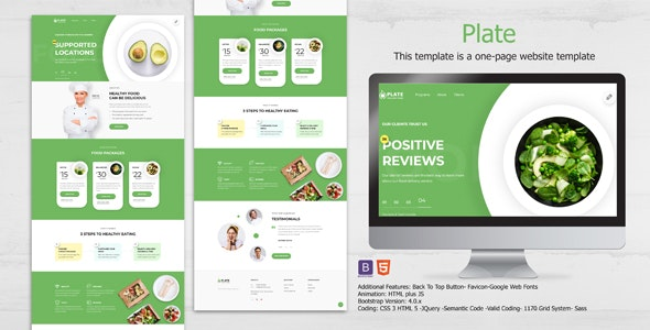 Plate - Healthy Food One Page Clean HTML Landing Page Template - Food Retail