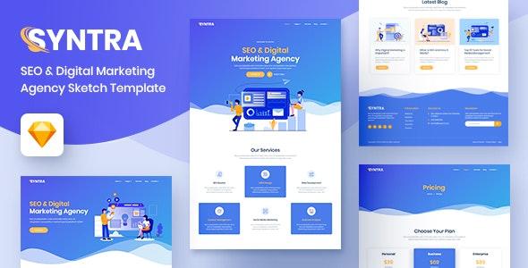 SYNTRA – SEO & Digital Marketing Agency Sketch Template - Marketing Corporate