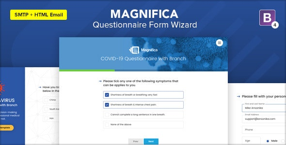 Magnifica - Coronavirus Questionnaire Form Wizard - Specialty Pages Site Templates