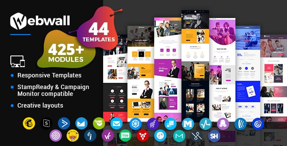 Webwall - Business Responsive Email Template + StampReady & CampaignMonitor compatible files - Newsletters Email Templates