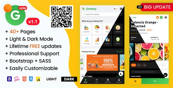 Grofar - Online Grocery Supermarket HTML Mobile Template - Mobile Site Templates