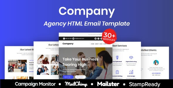 Company - Multipurpose Responsive Email Template 30+ Modules Mailchimp - Newsletters Email Templates