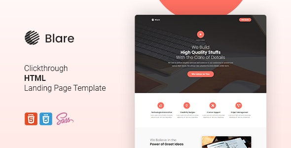 Blare - Clickthrough HTML Landing Page Template - Marketing Corporate