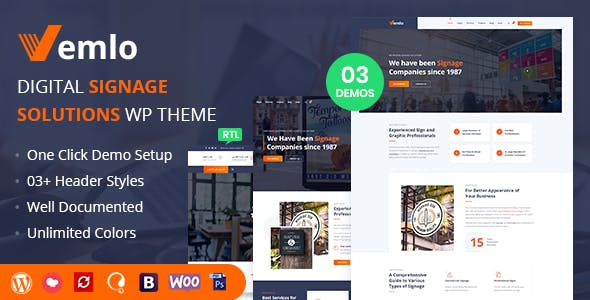 Download Vemlo - Digital Signage Services WordPress Theme