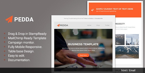 Pedda - Responsive Email with Stampready Builder - Newsletters Email Templates