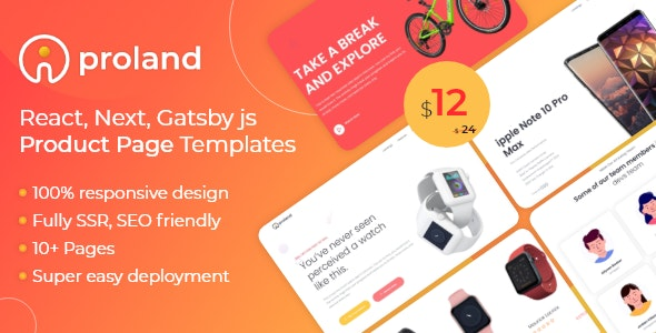 iProland – React Gatsby & Next Product Landing Page Template - Site Templates