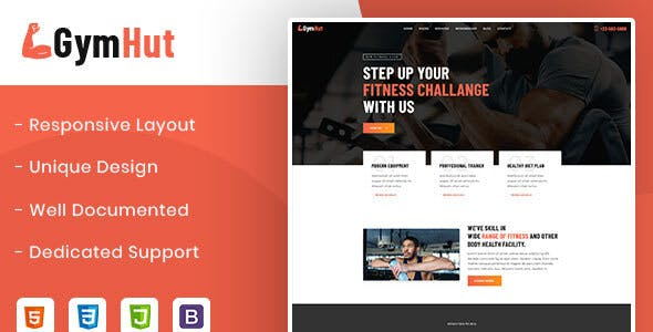 Download Gymhut – Fitness and Gym HTML Template